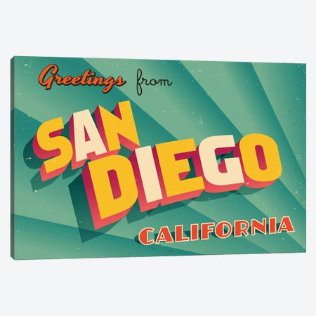 Greetings From San Diego Canvas Print #DPT253} by RealCallahan Canvas Art