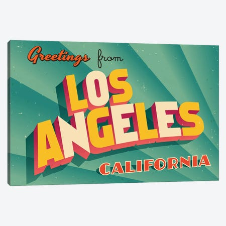 Greetings From Los Angeles Canvas Print #DPT254} by RealCallahan Art Print