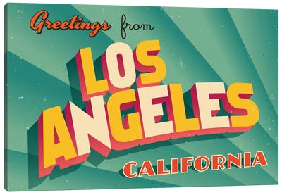 Greetings From Los Angeles Canvas Art Print