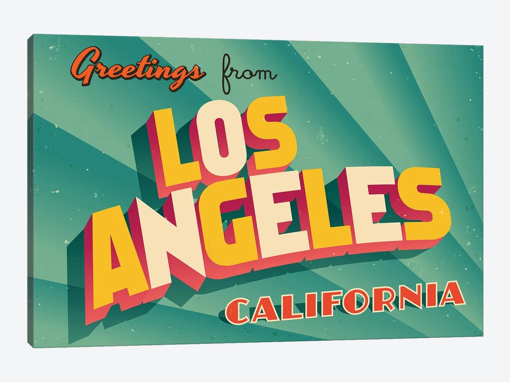 Greetings From Los Angeles by RealCallahan 1-piece Canvas Art Print