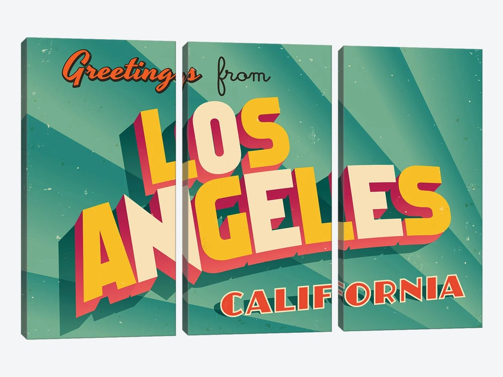 Greetings From Los Angeles by RealCallahan 3-piece Art Print
