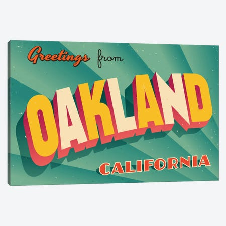 Greetings From Oakland Canvas Print #DPT255} by RealCallahan Canvas Print