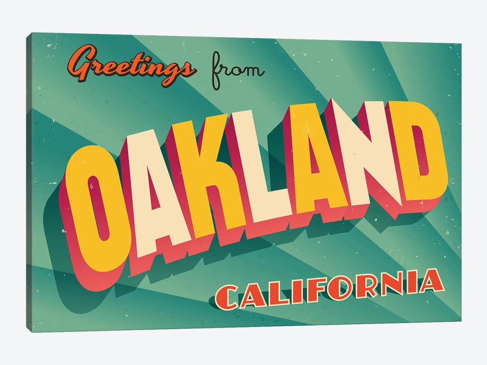 Greetings From Oakland by RealCallahan 1-piece Canvas Art