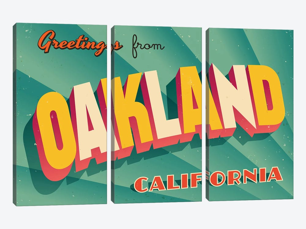 Greetings From Oakland by RealCallahan 3-piece Canvas Wall Art