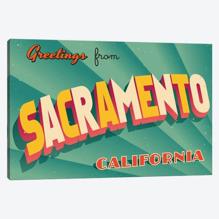 Greetings From Sacramento Canvas Print #DPT256} by RealCallahan Canvas Art Print