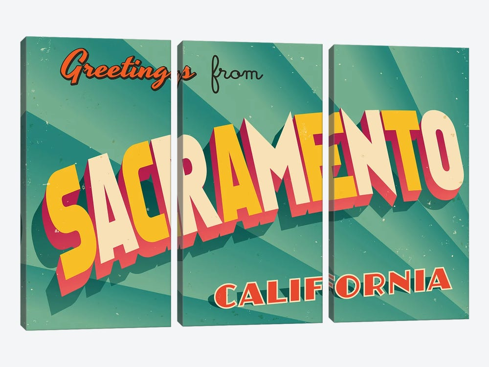 Greetings From Sacramento by RealCallahan 3-piece Art Print