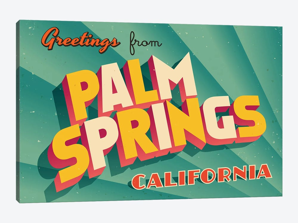 Greetings From Palm Springs by RealCallahan 1-piece Canvas Art Print