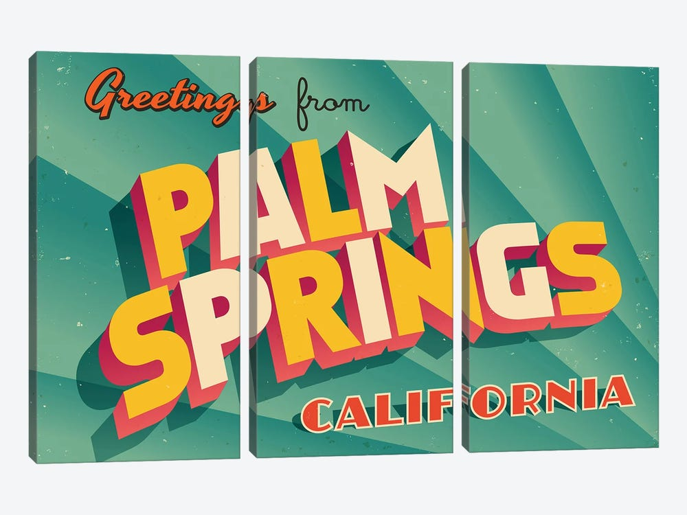 Greetings From Palm Springs by RealCallahan 3-piece Canvas Print