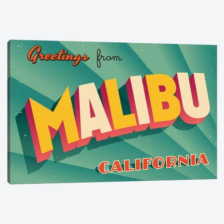 Greetings From Malibu Canvas Print #DPT259} by RealCallahan Canvas Artwork