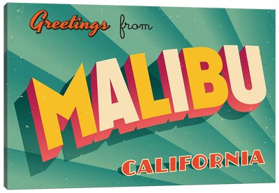 Greetings From Malibu Canvas Art Print