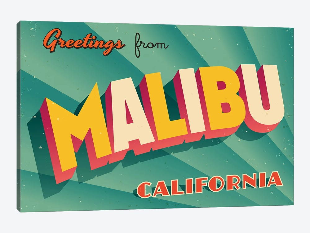 Greetings From Malibu by RealCallahan 1-piece Canvas Art