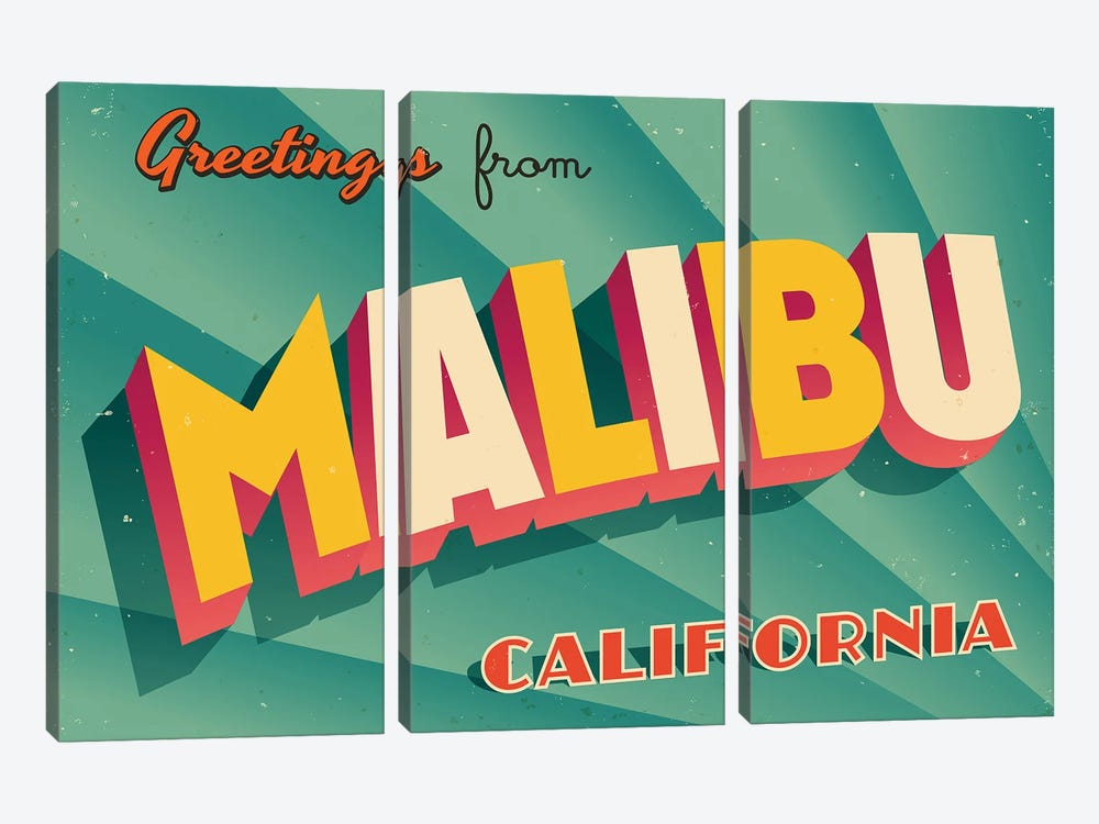 Greetings From Malibu by RealCallahan 3-piece Canvas Art