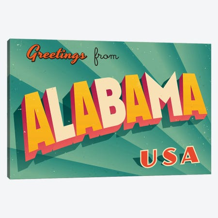 Greetings From Alabama Canvas Print #DPT261} by RealCallahan Canvas Print