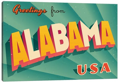 Greetings From Alabama Canvas Art Print