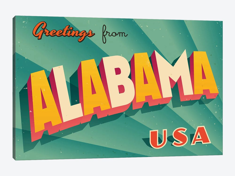 Greetings From Alabama by RealCallahan 1-piece Canvas Art Print