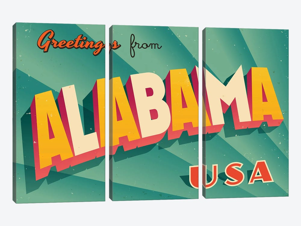 Greetings From Alabama by RealCallahan 3-piece Art Print