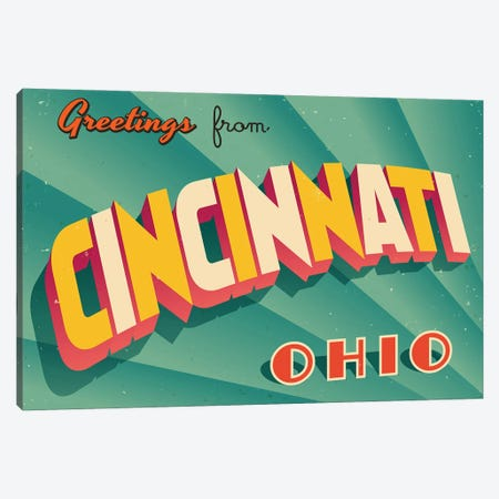 Greetings From Cincinnati Canvas Print #DPT262} by RealCallahan Canvas Art Print