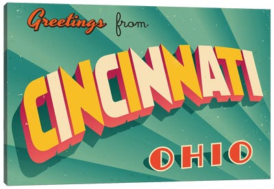 Greetings From Cincinnati Canvas Art Print