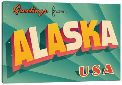 Greetings From Alaska Canvas Art Print