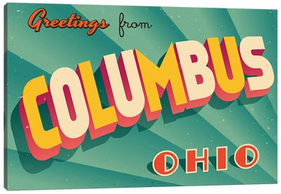 Greetings From Columbus Canvas Art Print