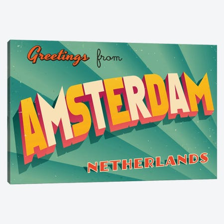 Greetings From Amsterdam Canvas Print #DPT265} by RealCallahan Canvas Wall Art