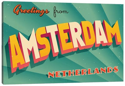 Greetings From Amsterdam Canvas Art Print