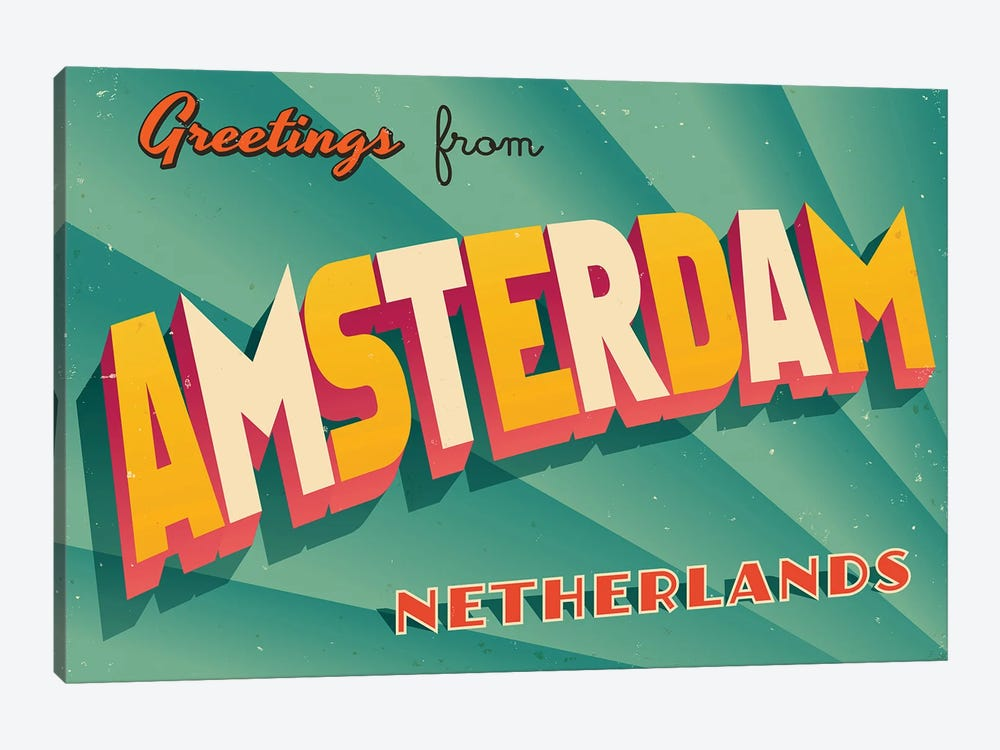 Greetings From Amsterdam by RealCallahan 1-piece Canvas Art Print