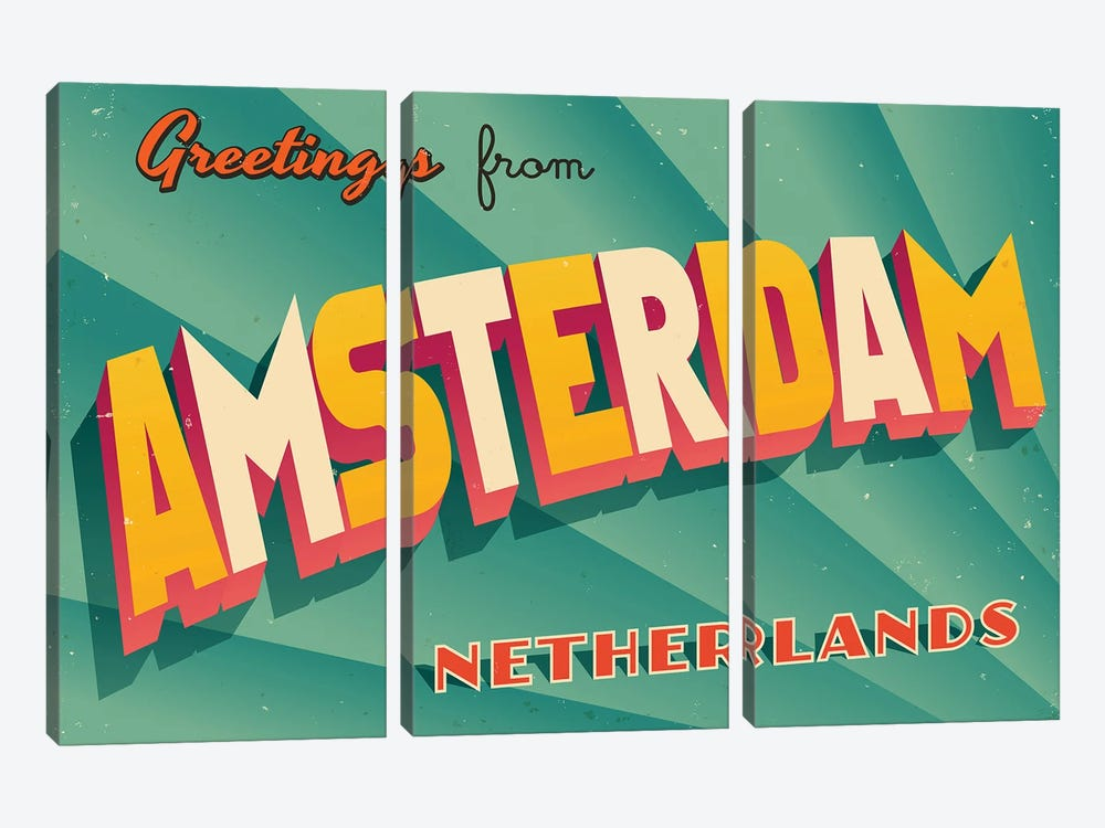 Greetings From Amsterdam by RealCallahan 3-piece Art Print