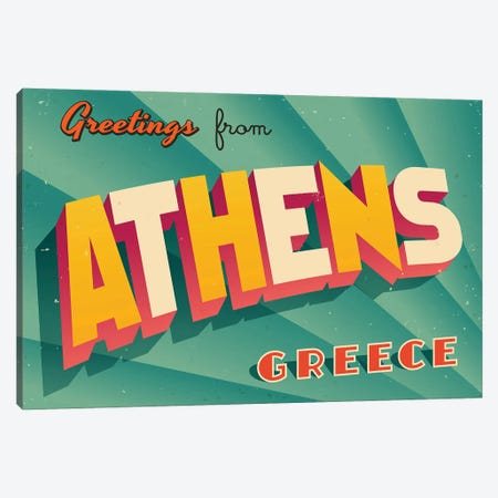 Greetings From Athens, Greece Canvas Print #DPT266} by RealCallahan Canvas Artwork