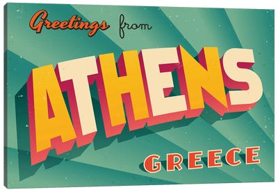 Greetings From Athens, Greece Canvas Art Print