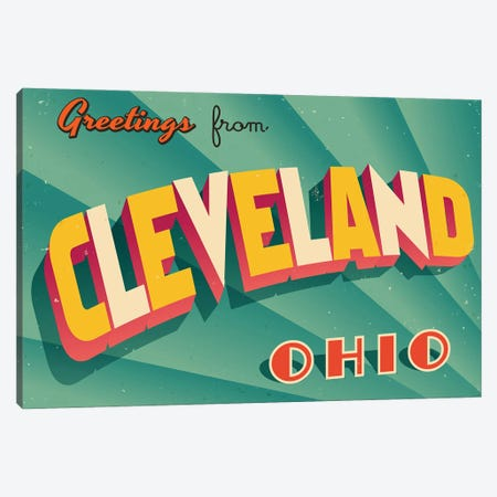 Greetings From Cleveland Canvas Print #DPT268} by RealCallahan Canvas Print