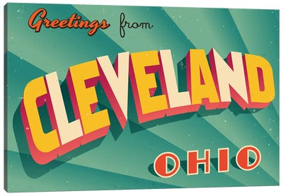 Greetings From Cleveland Canvas Art Print