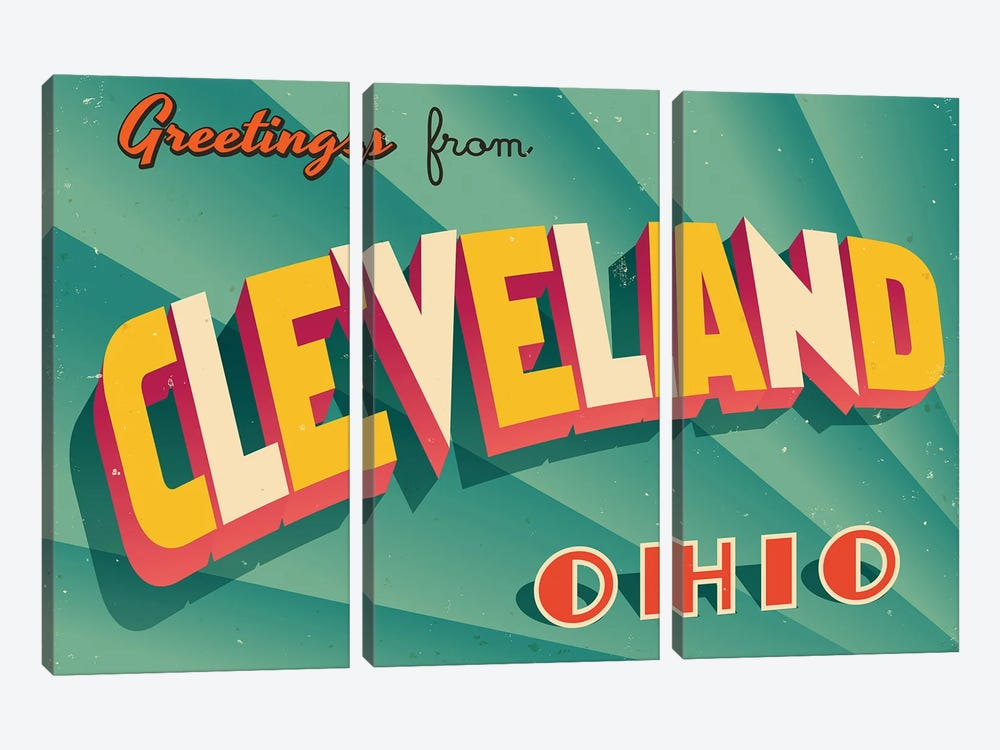 Greetings From Cleveland by RealCallahan 3-piece Canvas Wall Art