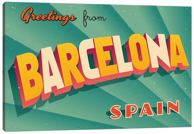 Greetings From Barcelona Canvas Art Print