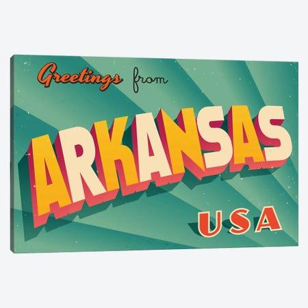 Greetings From Arkansas Canvas Print #DPT270} by RealCallahan Canvas Artwork