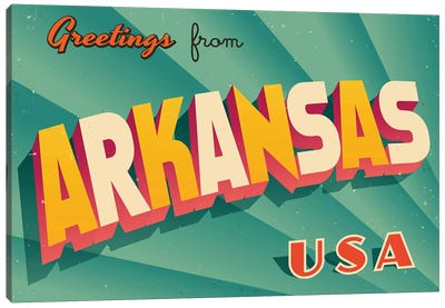 Greetings From Arkansas Canvas Art Print