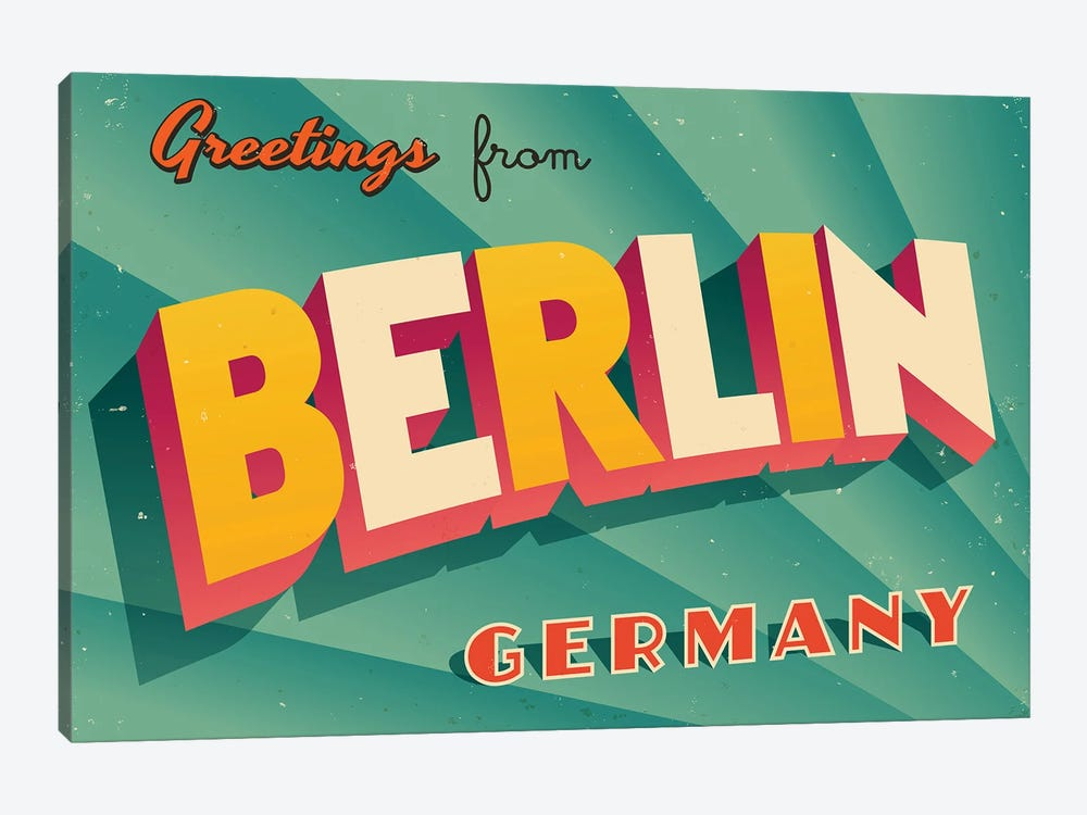 Greetings From Berlin by RealCallahan 1-piece Canvas Art