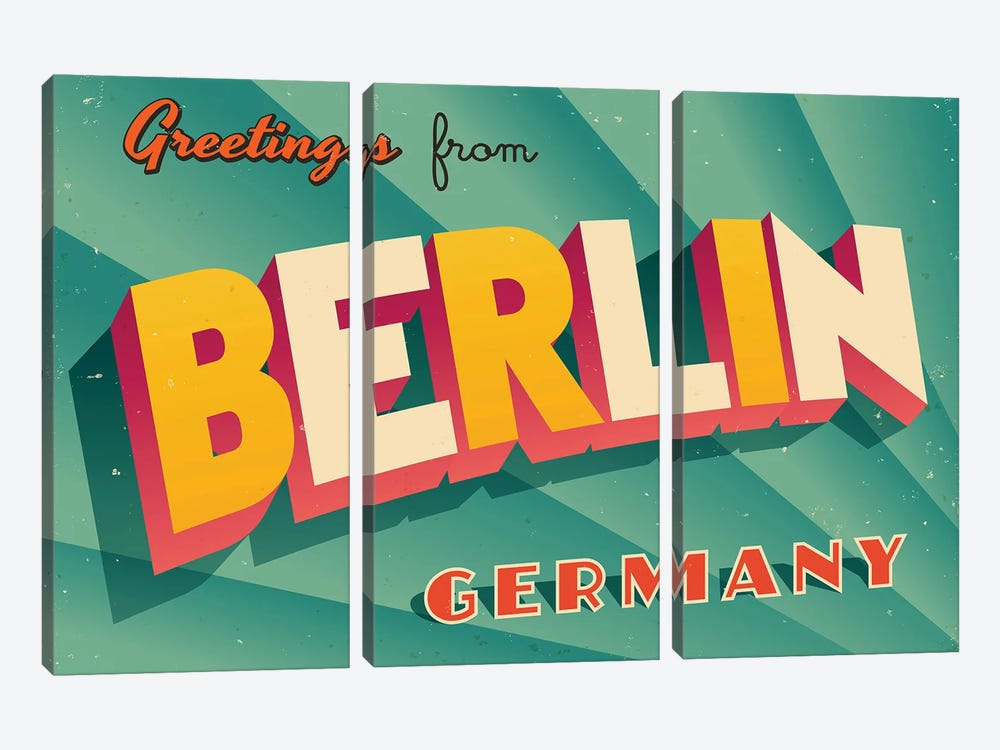 Greetings From Berlin by RealCallahan 3-piece Canvas Art