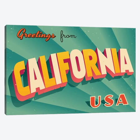 Greetings From California Canvas Print #DPT272} by RealCallahan Canvas Artwork