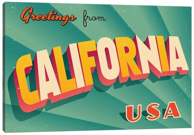 Greetings From California Canvas Art Print