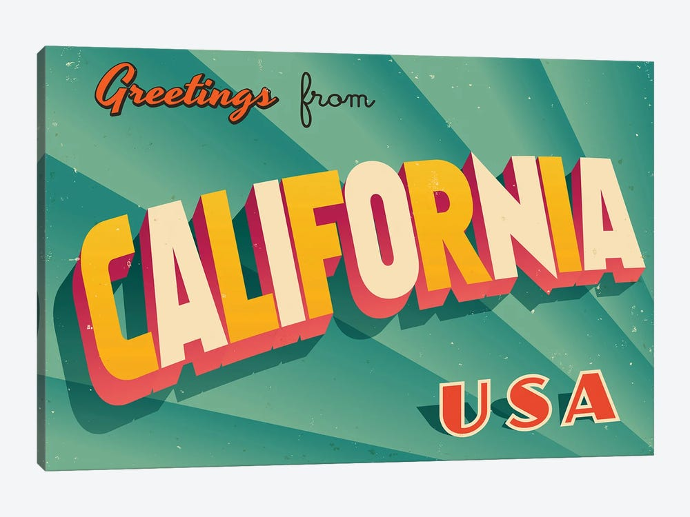 Greetings From California by RealCallahan 1-piece Canvas Art Print