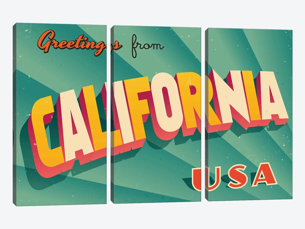 Greetings From California by RealCallahan 3-piece Canvas Art Print