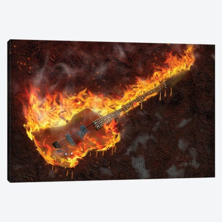 Flaming Melting Guitar Canvas Print #DPT274} by rolffimages Canvas Print
