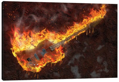 Flaming Melting Guitar Canvas Art Print