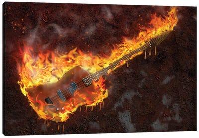 Flaming Melting Guitar Canvas Art Print