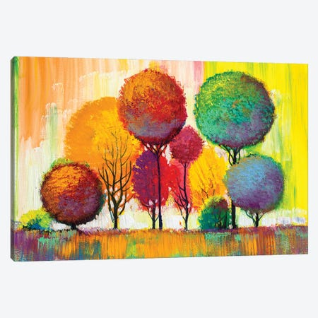 Autumn Forest , Orange Leaves Canvas Print #DPT275} by sbelov Canvas Print