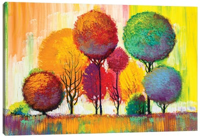 Autumn Forest , Orange Leaves Canvas Art Print