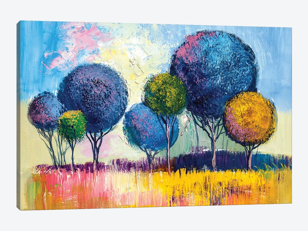 Colorful Trees I by sbelov 1-piece Canvas Wall Art