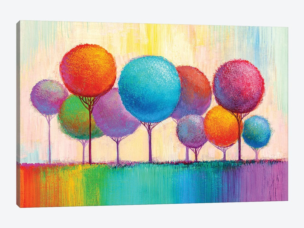Colorful Trees IX by sbelov 1-piece Canvas Wall Art
