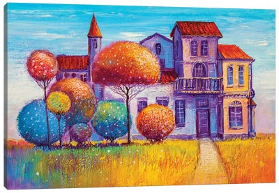 House In The Village Canvas Art Print